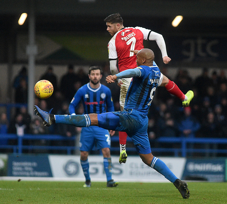 Rochdale's Calvin Andrew battles with Fleetwood Town's Wes Burns<br /> <br /> Photographer Hannah Fountain/CameraSport<br /> <br /> The EFL Sky Bet League One - Rochdale v Fleetwood Town - Saturday 19 January 2019 - Spotland Stadium - Rochdale<br /> <br /> World Copyright &copy; 2019 CameraSport. All rights reserved. 43 Linden Ave. Countesthorpe. Leicester. England. LE8 5PG - Tel: +44 (0) 116 277 4147 - admin@camerasport.com - www.camerasport.com