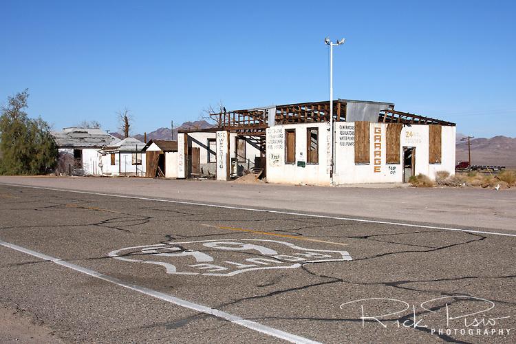 Abandoned auto service station along Route 66 in Ludlow, California. Prior to the construction of Interstate 40 Route 66 was the primary road through the Mojave Desert.
