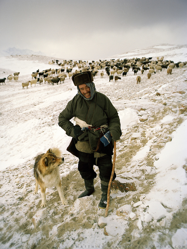 "Shepherd leaving in the morning. Wolf attack on livestock is common..Campment of the ""second"" Sary Tash. Ustad's Ghulam's camp..Winter expedition through the Wakhan Corridor and into the Afghan Pamir mountains, to document the life of the Afghan Kyrgyz tribe. January/February 2008. Afghanistan"