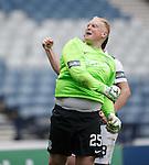 Hibs keeper Conrad Logan celebrates