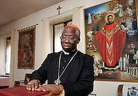 Il Cardinale nigeriano Francis Arinze durante un'intervista nella sua abitazione a Roma, 10 marzo 2009..Nigerian cardinal Francis Arinze in his house in Rome, 10 march 2009..UPDATE IMAGES PRESS/Riccardo De Luca