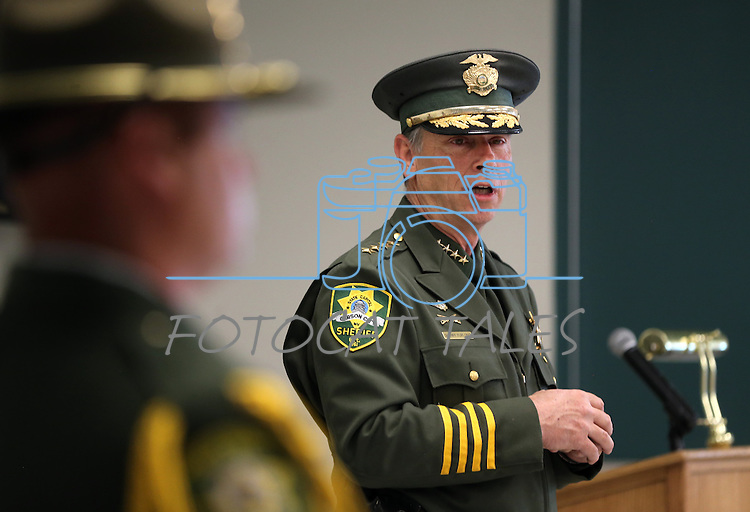 Carson City Sheriff Kenny Furlong speaks at a ceremony at the Carson City Sheriff's Office in Carson City, Nev., on Wednesday, April 24, 2013. .Photo by Cathleen Allison