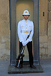 Uniformed soldier on duty outside Grand master's palace, Valletta, Malta