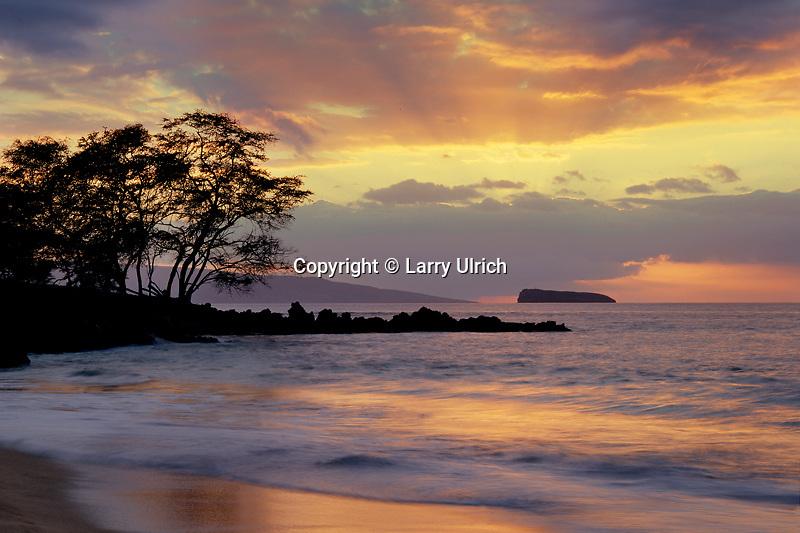 Molokini Island and Kahoolawe<br />   from Maluaka Beach<br /> Island of Maui<br /> Hawaii