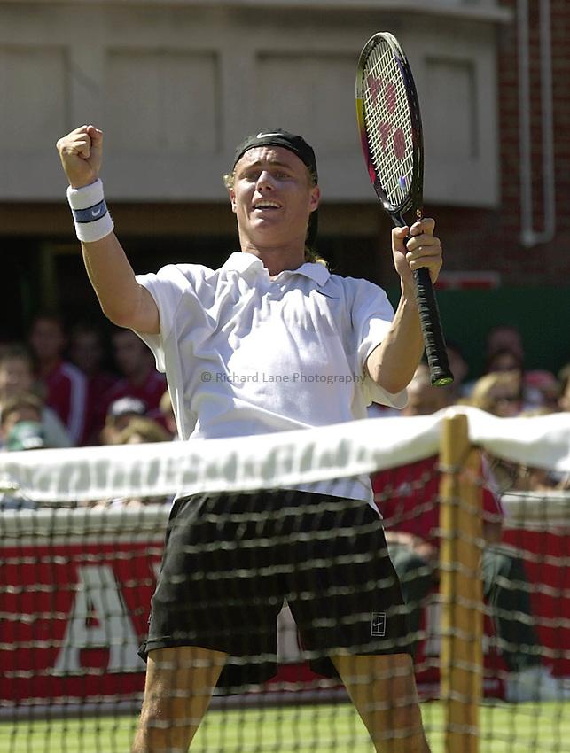 Photo:Ken Brown.18.6.2000 Stella Artois Tennis Championship.Llleyton Hewitt celebrates his victory over Pete Sampras.