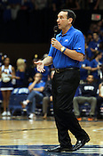"Duke head coach Mike Krzyzewski thanks the crowd for thier support during halftime. Duke men's basketball had an opening scrimmage game as a part of the ""Countdown to Craziness"" event at Cameron Indoor Stadium Friday Oct. 14, 2011.  Photo by Al Drago..."