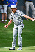 Kelly Kraft (USA) watches his 39' 11&quot; birdie putt roll in on 16 during the round 1 of the Dean &amp; Deluca Invitational, at The Colonial, Ft. Worth, Texas, USA. 5/25/2017.<br /> Picture: Golffile | Ken Murray<br /> <br /> <br /> All photo usage must carry mandatory copyright credit (&copy; Golffile | Ken Murray)