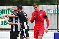 Lewis Godbold of Heybridge (L) scores the first goal for his team and celebrates during Heybridge Swifts vs Carshalton Athletic, FA Trophy Football at The Aspen Waite Arena on 7th October 2017