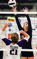 NWA Democrat-Gazette/CHARLIE KAIJO Rogers Heritage High School Kariann Haney (23) blocks during a volleyball game, Thursday, October 11, 2018 at Rogers Heritage High School in Rogers.