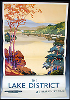 BNPS.co.uk (01202 558833)<br /> Pic:   LindsayBurns&Co/BNPS<br /> <br /> Poster advertising the Lake District.<br /> <br /> A collection of stylish vintage railway posters which celebrate the golden age of the seaside package holiday have been unearthed during a house clearance.<br /> <br /> The colourful 1950s posters were discovered under a pile of knick-knacks at the back of a cupboard in a deceased elderly couple's flat in Perthshire, east Scotland.<br /> <br /> They include a racy image of a lady in a bikini promoting the resort of Mablethorpe, Lincs, and a sweet picture of a mother playing with her young child on the beach at Bognor Regis, West Sussex.<br /> <br /> In total, eight posters produced by British Railways will go under the hammer with auction house Lindsay Burns & Co of Perth, where they are expected to fetch £1,000.