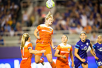 Orlando, Florida - Saturday, April 23, 2016: Houston Dash defender Ellie Brush (8) goes up high to win a header during an NWSL match between Orlando Pride and Houston Dash at the Orlando Citrus Bowl.