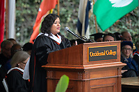 Guest speaker Maya Soetoro-Ng addresses the graduates<br />