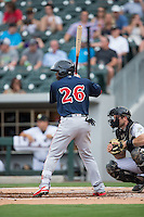 Rusney Castillo (26) of the Pawtucket Red Sox at bat against the Charlotte Knights at BB&T BallPark on July 6, 2016 in Charlotte, North Carolina.  The Knights defeated the Red Sox 8-6.  (Brian Westerholt/Four Seam Images)