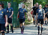 20170717 - RIJEN , NETHERLANDS :  Belgian Aline Zeler , Julie Biesmans and Elke Van Gorp (r) pictured during a training session of the Belgian national women's soccer team Red Flames on the pitch of Rijen , on Tuesday 18 July 2017 in Rijen . The Red Flames are at the Women's European Championship 2017 in the Netherlands. PHOTO SPORTPIX.BE | DAVID CATRY