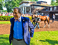 STANTON, DE - JULY 15: Songbird #5 walks in the paddock as Fox Hill Farm owner Rick Porter watches before winning the Delaware Handicap on Delaware Handicap Day on July 8, 2017 at Delaware Park Race Track in Stanton, Delaware. (Photo by Scott Serio/Eclipse Sportswire/Getty Images)