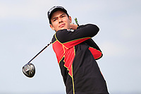 Lukas Buller (GER) on the 5th tee during Round 1 of the The Amateur Championship 2019 at The Island Golf Club, Co. Dublin on Monday 17th June 2019.<br /> Picture:  Thos Caffrey / Golffile<br /> <br /> All photo usage must carry mandatory copyright credit (© Golffile | Thos Caffrey)