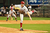 HOUSTON, TEXAS - Feb. 18, 2011: Scott Snodgress, Stanford's relief pitcher, delivers another curve ball for a strike against Rice during the game on opening day.  Stanford defeated Rice University 5-3.
