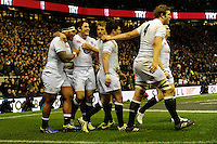 Manu Tuilagi of England (left) celebrates scoring a try during the RBS 6 Nations match between England and France at Twickenham on Saturday 23rd February 2013 (Photo by Rob Munro)