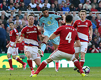 Burnley's George Boyd battles through the heart of the Middlesbrough defence<br /> <br /> Photographer David Shipman/CameraSport<br /> <br /> The Premier League - Middlesbrough v Burnley - Saturday 8th April 2017 - Riverside Stadium - Middlesbrough<br /> <br /> World Copyright &copy; 2017 CameraSport. All rights reserved. 43 Linden Ave. Countesthorpe. Leicester. England. LE8 5PG - Tel: +44 (0) 116 277 4147 - admin@camerasport.com - www.camerasport.com