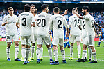 Real Madrid Marcos Llorente, Jesus Vallejo, Marco Asensio, Dani Carvajal, Federico Valverde and Francisco Alarcon 'Isco' celebrating a goal during King's Cup match between Real Madrid and U.D. Melilla at Santiago Bernabeu Stadium in Madrid, Spain. December 06, 2018. (ALTERPHOTOS/Borja B.Hojas)