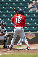 Luis Garcia (16) of the Potomac Nationals at bat against the Winston-Salem Rayados at BB&T Ballpark on August 12, 2018 in Winston-Salem, North Carolina. The Rayados defeated the Nationals 6-3. (Brian Westerholt/Four Seam Images)