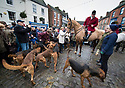 26/12/18<br /> <br /> Bloodhounds and horses from the Four Shires Hunt gather in Market Square, Ashbourne, for the Boxing Day Hunt, before setting of to follow a human quarry - on a run of up to 17 miles across the Derbyshire Dales.<br /> <br /> All Rights Reserved, F Stop Press Ltd. (0)1335 344240 +44 (0)7765 242650  www.fstoppress.com rod@fstoppress.com