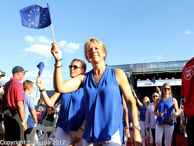 DES MOINES, IA - AUGUST 17: Team Europe's Captain Annika Sorenstam waves the European flag at the conclusion of the opening ceremony at the 2017 Solheim Cup in Des Moines, IA. (Photo by Dave Eggen/Inertia)