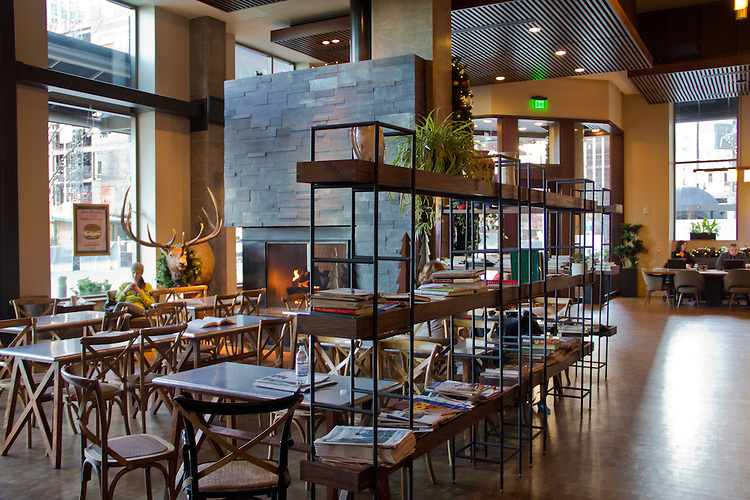 Seattle, Via6, Assembly Hall, Tanaka San Restaurant, Tom Douglas and Eric Tanaka's TanakaSan American Asian pub, Assembly Juice and Coffee, and Home Remedy, an urban market all public spaces for neighbors and residents of the Via6 apartments,