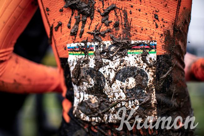 post race mud. <br /> <br /> Men's Junior race<br /> UCI 2020 Cyclocross World Championships<br /> Dübendorf / Switzerland<br /> <br /> ©kramon