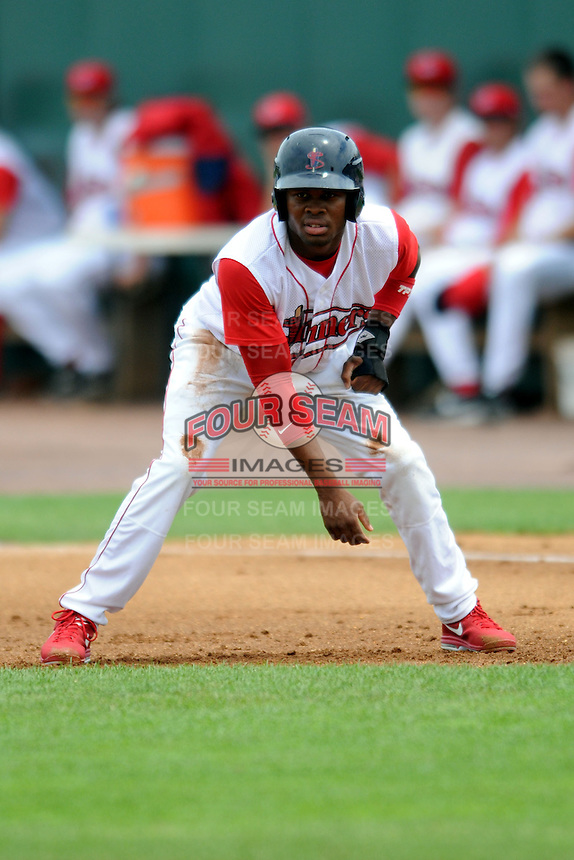 Lowell Spinners outfielder Manuel Margot #2 during a game versus the Vermont Lake Monsters at LeLacheur Park In Lowell, Massachusetts on June 30, 2013. (Ken Babbitt/Four Seam Images)