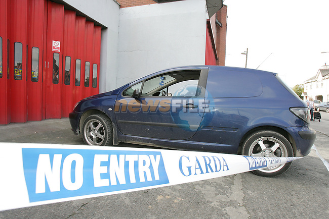 Drogheda the driver of the Blue Peugeot Van escaped from the vehicle after being shoot, there was approx 4 gun shot entry points on the van, the Van was abandoned outsidde the Fire station in Drogheda..Photo: AFP Photo/Fran Caffrey/ Newsfile.