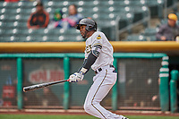 Jabari Blash (36) of the Salt Lake Bees bats against the Albuquerque Isotopes at Smith's Ballpark on April 8, 2018 in Salt Lake City, Utah. Albuquerque defeated Salt Lake 11-4. (Stephen Smith/Four Seam Images)