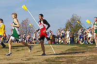Andrew Moore leads 500 meters into the Class 3 Boys race at the State Cross Country Championships.