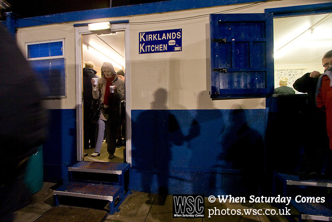 Spectators queueing in the refreshment hut at half-time as Cammell Laird take on Witton Albion in a Unibond League premier division game at Kirklands, Birkenhead. The visitors won by 2 goals to 1 on front of a crowd of just 136. Formed in 1907, Lairds joined the English pyramid in 2004 and gained three promotions in five years, but financial problems forced the club to revert to amateur status in December 2008.