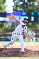 Riley Smith (33) of the Hillsboro Hops pitches against the Spokane Indians at Ron Tonkin Field on July 22, 2017 in Hillsboro, Oregon. Spokane defeated Hillsboro, 11-4. (Larry Goren/Four Seam Images)
