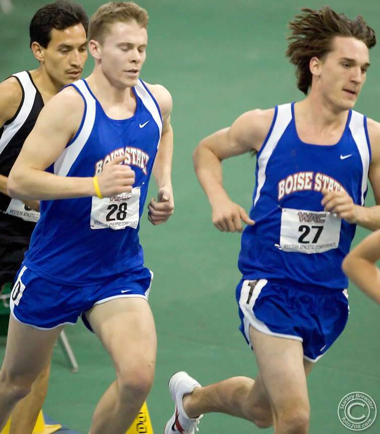 2-24-06.Nampa, ID. Forest Braden successfully defended his title in the 5,000-meter run winning with a time of 14:33.47.  Two weeks ago the senior from Bonners Ferry, Idaho set a Boise State record in the event with a NCAA automatic qualifying time of 13:47.73.  .The Broncos went one-two at 5,000-meters when Ty Axtman followed Braden across the finish line with a time of 14:39.39.