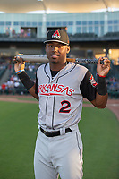 Arkansas Travelers outfielder Kyle Lewis (2) poses for a photo before a Texas League game between the Northwest Arkansas Naturals and the Arkansas Travelers on May 30, 2019 at Arvest Ballpark in Springdale, Arkansas. (Jason Ivester/Four Seam Images)