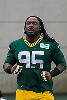 Green Bay Packers defensive tackle Ricky Jean Francois (95) during an Organized Team Activity on May 23, 2017 at Clarke Hinkle Field in Green Bay, Wisconsin.  (Brad Krause/Krause Sports Photography)