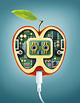 Illustrative image of machinery in apple representing online recipes