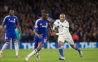 Ramires of Chelsea turns Yacine Brahimi of FC Porto during the UEFA Champions League group G match between Chelsea and FC Porto at Stamford Bridge, London, England on 9 December 2015. Photo by Andy Rowland.
