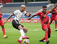 Germany's Lukas Nmecha (10) and Hannes Delcroix (19) in action during a soccer game between the national teams Under21 Youth teams of Belgium and Germany on the 5th matday in group 9 for the qualification for the Under 21 EURO 2021 , on tuesday 8 th of September 2020  in Leuven , Belgium . PHOTO SPORTPIX.BE | SPP | SEVIL OKTEM