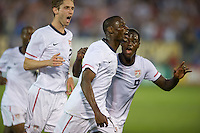 USA's Maurice Edu celebrates with teammates after scoring a goal against the Czech Republic during an international friendly tune up match for the 2012 World Cup, in Hartford, CT, 05/25/10. The Czech Republic defeated the USA 4-2.