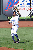 Terrance Gore #6 of the Omaha Storm Chasers waits for fly ball in left field against the Las Vegas 51s at Werner Park on August 17, 2014 in Omaha, Nebraska. The Storm Chasers  won 4-0.   (Dennis Hubbard/Four Seam Images)