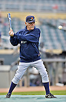 28 September 2012: Detroit Tigers Manager Jim Leyland taps out some grounders during batting practice prior to a game against the Minnesota Twins at Target Field in Minneapolis, MN. The Twins defeated the Tigers 4-2 in the first game of their 3-game series. Mandatory Credit: Ed Wolfstein Photo