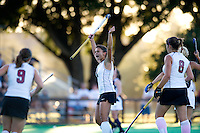 STANFORD, CA - September 3:  Camille Gandhi celebrates after a goal during a field hockey match against UC Davis, September 3, 2010 in Stanford, California. Stanford won 3-1.