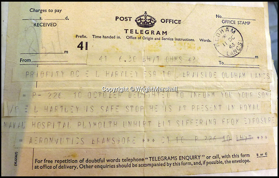 BNPS.co.uk (01202 558833)<br /> Pic: WrightMarshall/BNPS<br /> <br /> A telegram to Hartley's parents informing them that their son has been found.<br /> <br /> An incredible diary revealing how six hero airmen survived 11 days at sea in a dinghy by using their underpants for a fishing net and their shirts for a sail has been found after 73 years.<br /> <br /> Flying Officer Eric Hartley kept the log of the daily struggle for survival the crew of a Halifax bomber endured after it was shot down by a German U-boat whose captain was nicknamed Count Dracula.<br /> <br /> Six of the eight crew survived and climbed into the small open rubber dinghy and were left at the mercy of the sea for nearly two weeks until they were spotted by a Royal Navy destroyer off Ireland in October 1943.
