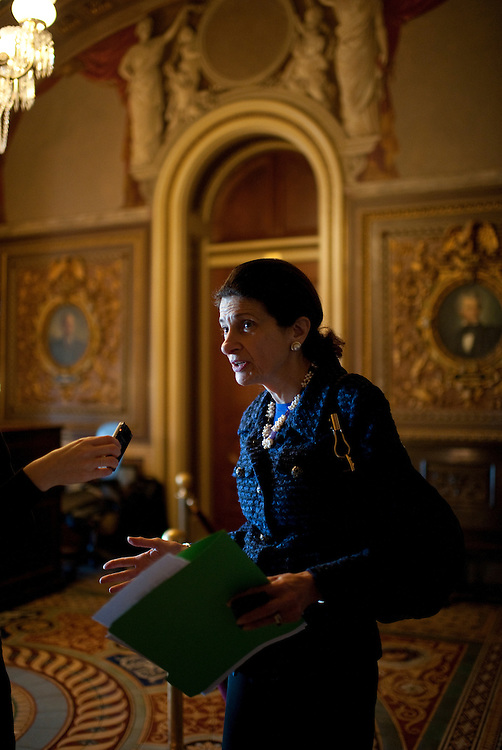 UNITED STATES - JANUARY 31:  Sen. Olympia Snowe, R-Me., talks with a reporter in the Senate Reception Room before the senate luncheons in the Capitol. (Photo By Tom Williams/CQ Roll Call)