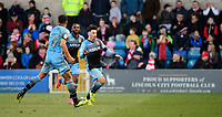 Stevenage's Ilias Chair, right, celebrates scoring his side's second goal<br /> <br /> Photographer Chris Vaughan/CameraSport<br /> <br /> The EFL Sky Bet League Two - Lincoln City v Stevenage - Saturday 16th February 2019 - Sincil Bank - Lincoln<br /> <br /> World Copyright © 2019 CameraSport. All rights reserved. 43 Linden Ave. Countesthorpe. Leicester. England. LE8 5PG - Tel: +44 (0) 116 277 4147 - admin@camerasport.com - www.camerasport.com