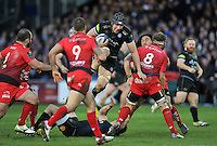 Charlie Ewels of Bath Rugby takes on the Toulon defence. European Rugby Champions Cup match, between Bath Rugby and RC Toulon on January 23, 2016 at the Recreation Ground in Bath, England. Photo by: Patrick Khachfe / Onside Images