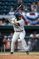 Tampa Yankees third baseman Miguel Andujar (46) at bat during a game against the Lakeland Flying Tigers on April 9, 2015 at Joker Marchant Stadium in Lakeland, Florida.  Tampa defeated Lakeland 2-0.  (Mike Janes/Four Seam Images)